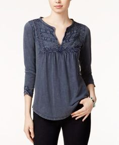 Lucky Brand Ruched Lace-Bib Top - Blue M