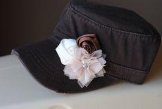 Womens Dark Brown Cadet Hat Distressed Military Cap Rhinestone Bling Hat $28