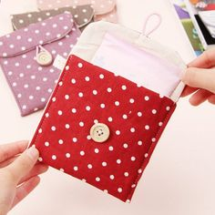 [Visit to Buy] Random Color Women's Portable Polka Dot Storage Pouch Sanitary Napkin Holder Organizer Bag Sanitary Towels, Sanitary Napkin, Sewing Crafts, Sewing Projects, Printed Linen, Fabric Bags, Disney Crafts, Bag Organization, Bag Storage
