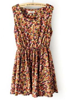 Pink Sleeveless Elastic Waist Floral Tank Dress pictures
