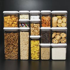 """Stackable containers let you store everything from crackers to oats to pasta in plain sight. Designed for modular stacking, the square and rectangular shapes make storage a snap. Speaking of """"snap,"""" sealing them couldn't be easier — just push the button for an airtight seal. To open, push the button again. It pops up and becomes the handle. Genius.Tip:Use these anywhere in the house you need storage, from wrangling hair bands in the bathroom to corralling those unruly binder clips in your…"""