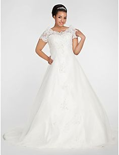 Ball Gown Off-the-shoulder Chapel Train Organza Plus Size We... – GBP £ 122.12