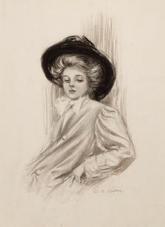 Pin-up and Glamour Art, CHARLES GATES SHELDON (American, 1889-1960). Gibson Girl.Charcoal on paper. 22.25 x 16.25 in.. Signed lower right......