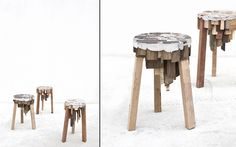 Wood stool - clever (had to zoom in as it reminded me of an artist's work where he had cityscapes on the bottom of a plank and landscapes up top).