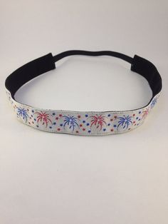 Fireworks Red White & Blue Patriotic non-slip headband for everyday and active wear on Etsy, $8.00