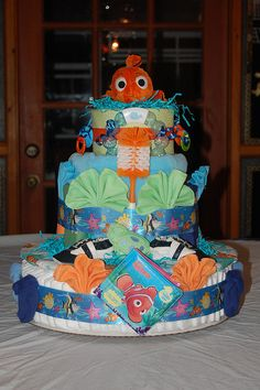 Finding Nemo Diaper Cake by swaddlestar, via Flickr