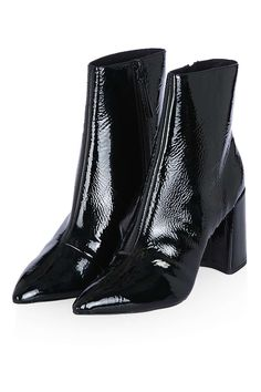 HEART Patent Flare Heel Boots
