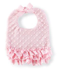 Pink ruffle baby bib www.daisyshoppe.com