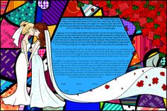 5 Ways To Personalize Your Gay Jewish Wedding by Mazelmoments.com - Two Brides Ketubah for a Lesbian Wedding by This is Not a Ketubah - GayWeddings.com