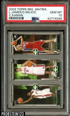 2003 Topps Rookie Matrix C Kaman Lebron James/D.Milicic PSA 10 #LeBronJames #PSA10 #sportscards Lebron James Rookie Card, Chris Bosh, Basketball Cards, Upper Deck