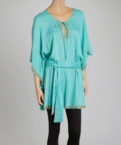 Look what I found on #zulily! Green Cape-Sleeve Tunic by Avani Del Amour #zulilyfinds