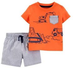 Cute Boy Outfits, Toddler Outfits, Kids Outfits, Carters Baby Boys, Toddler Boys, Newborn Boys, T Shirt And Shorts, Boy Shorts, Short Shorts