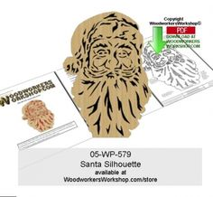 A nice Santa Claus silhouette, you can just see his face is bursting with a big smile underneath that beard! This scroll saw silhouette pattern is a good woodworking plan for beginners to practice cut...