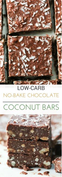 These Low-Carb No-Bake Chocolate Coconut Bars are made with walnuts, cashews, coconut, natural peanut butter and dark chocolate. It's gluten-free and very delicious and this bar recipe will become your favourite of all the low carb snacks!