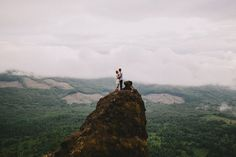 Engagement photos on a mountain or in pretty scenery Oregon Mountain Hike Engagement | Cambria + Ross