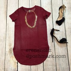 Kylie Jenner Style Burgundy T-shirt Dress L Kylie Jenner burgundy style t-shirt dress/tunic! Necklace is included, ships next day. If interested price will be dropped down to $30  Dresses