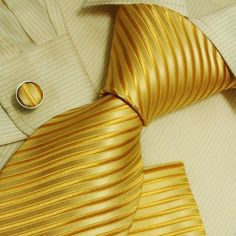 Gold stripes men neck tie