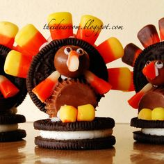 Oreo Cookie Turkeys - Double Stuff Oreos (2 per turkey)  Small Reeses' Peanut Butter Cups (1)  Whoppers (1)  Candy Corn  White Frosting  Black Frosting