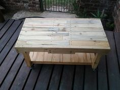 First try at making a coffee table out of reclaimed wood Pallet, Woodworking, Diy Things, Furniture, Coffee, Home Decor, Kaffee, Shed Base, Diy Stuff