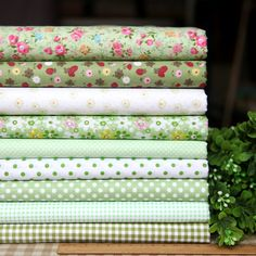 Items similar to Green series floral dot stripe cotton fabric bundle patchwork fabric bundle Quilted bundle doll's clothes fabric on Etsy Patchwork Fabric, Cotton Quilting Fabric, Cotton Quilts, Fabric Patterns, Sewing Patterns, Shabby, Polka Dot Fabric, Fabric Online, Creations