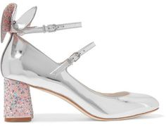 Sophia Webster - Lilia Bow-embellished Mirrored-leather Mary Jane Pumps - Silver