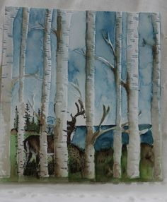 hanmade card featuring the birches embossing folder ... delightful stamped and water colored scen behind the birches ... deer and a lake ... luf the extra depth from the coloring ...