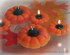 A natural for the Fall season. Use pumpkins in your Fall centerpiece. Floating candles are and hours. Pool Candles, Outdoor Candles, Mason Jar Candles, Best Candles, Diy Candles, Dollar Tree Centerpieces, Floating Candle Centerpieces, Unity Candle, Pumpkin Candles