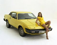 Triumph TR7  Don't remember the girlfriend!  Raddy's had a canvas sunroof, and side repeater lights from the US model