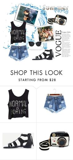 """""""Pool Party"""" by rainbow1027 ❤ liked on Polyvore featuring Polaroid, Betsey Johnson, Quay, Summer, poolparty and summerpoolparty"""