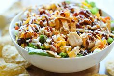 BBQ Chicken Salad - This healthy, flavorful salad comes together so quickly, and it's guaranteed to be a hit with your entire family! Maybe less cheese, less ranch, and a DIY BBQ sauce to reduce sugar. Bbq Chicken Salad, Chicken Salad Recipes, Barbecue Chicken, Chipotle Chicken, Chicken Dips, Ranch Chicken, Roasted Chicken, Clean Eating, Healthy Eating