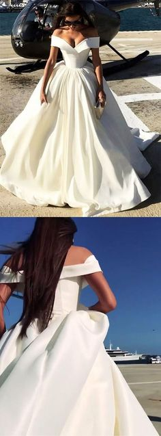 2018 chic a-line ivory prom dresses off-the-shoulder long prom dress evening dresses, Ivory Prom Dresses, Long Prom Gowns, Prom Dresses With Sleeves, Cheap Prom Dresses, Quinceanera Dresses, Formal Gowns, Ball Dresses, Ball Gowns, Evening Dresses