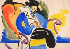 Calligraphic #2 Woman on Chair, 1914-1918, H. Lyman Saÿen, watercolor on paper mounted on paperboard, sheet: 10 x 14 in. (25.5 x 35.5 cm), Smithsonian American Art Museum, Gift of H. Lyman Sayen to his nation, 1968.19.10