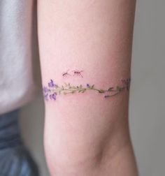 Delicate flower arm cuff with two little ants. #flower #tattoo #cuff