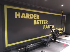Inspirational gym wall graphics installed by Wallboss. Home Gym Garage, Basement Gym, Bed Canopy With Lights, Small Basement Design, Gym Interior, Ad Home, Gym Decor, Office Branding, Gym Room