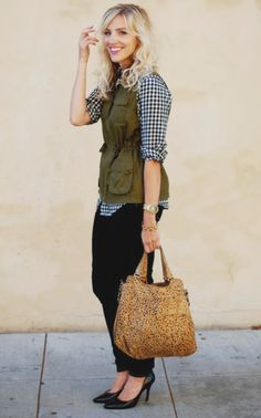 Love the idea of taking gingham into fall with a military vest.
