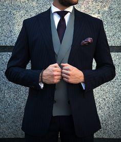 Navy Pinstripe Jacket with Grey Waistcoat Groomsmen Suits, Groom Attire, Mens Suits, Suit Fashion, Mens Fashion, Pinstripe Suit, Classy Men, Wedding Suits, Wedding Attire