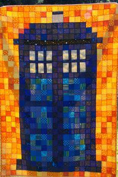 piecedgoods, Tardis Quilt, quilt Tardis, patchwork Tardis, Tardis baby quilt