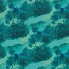 Jungle design fabric: blue, green, petrol palm trees! #interior #design #fabric // Ethnic Chic - Home Couture Online Shop