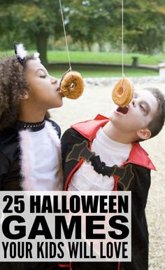 If you're throwing a party either at school or at home, finding the perfect Halloween games for kids is a MUST to keep your guests entertained and happy. That's why we've rounded up 25 easy DIY Halloween games that will provide endless hours of Comida De Halloween Ideas, Casa Halloween, Soirée Halloween, Halloween Games For Kids, Hallowen Ideas, Halloween Party Supplies, Outdoor Halloween, Halloween Birthday, Holidays Halloween