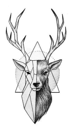 deer drawing - Drawing Tips Tattoo Sketches, Art Drawings Sketches, Animal Drawings, Tattoo Drawings, Geometric Deer, Geometric Drawing, Geometric Tattoo Animal, Geometric Tattoos, Deer Drawing