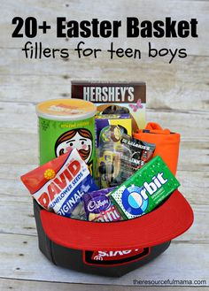 Teen boy gift basket would be a cute easter basket for little boy teen boy easter basket and 20 ideas for fillers negle Choice Image