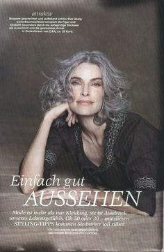 plAce models news: grey is beAtiful-roxAne gould for brigitte magazine