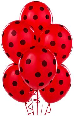 PartyBell.com - Red with Black Polka Dots Latex #Balloons