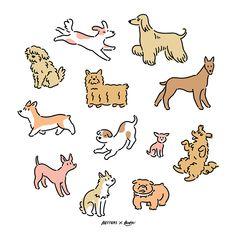 X Koke - Digitale Kunst, Illustration, : Cute Drawings, Animal Drawings, Drawing Sketches, Cute Dog Drawing, Dog Illustration, Character Illustration, Digital Illustration, Arte Alien, Doodle Characters