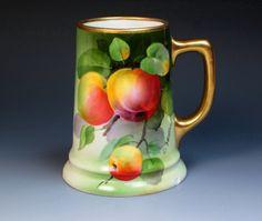 Antique Hand Painted Signed Mug with Apples, Alexandra Porcelain Works 1899-1918, Tankard, Stein, Limoges, Belleek Mug, Rosenthal Mug