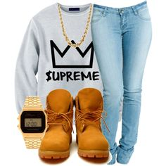 Discovered by Vanessa Couture. Find images and videos about fashion, summer and vintage on We Heart It - the app to get lost in what you love. Tims Outfits, Timberland Outfits, Cute Swag Outfits, Dope Outfits, Urban Outfits, Casual Outfits, Timberland Heels, Timberland Fashion, Dope Fashion