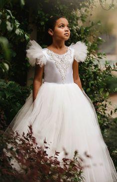 Couture Ivory Flower Girl Dress Perfect for Fairytale Wedding or Disney Wedding or Girl's  First Communion Confirmation Dress  #cinderellawedding #disneywedding