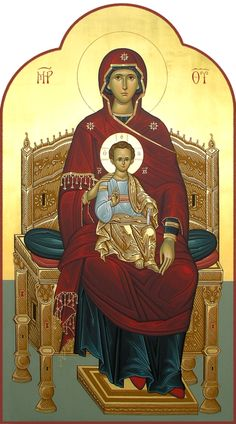 Theotokos Enthroned / and God-born Religious Images, Religious Icons, Religious Art, Byzantine Icons, Byzantine Art, Blessed Mother Mary, Blessed Virgin Mary, Church Icon, Roman Church
