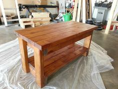 "2X4 Bench. DIY Shopping List: 3 - 2x4 @ 8' long Tools: Saw Drill 2 1/2"" screws (or Kreg Jig & 2 1/2"" self tapping screws) 4"" screws (or Kreg Jig & 2 1/2"" self tapping screws) Wood glue Wood filler 2x4 Cut List: (A) - 4 @ 13"" (legs) (B) - 4 @ 5"" (sides) (C) - 6 @ 33"" (shelves) Dimensions: 36"" wide x 13"" tall x 12"" deep"