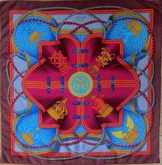 "Hermes 35"" silk scarf ""Grande Tenue"" by Henri d'Origny, 1st issue 1985"